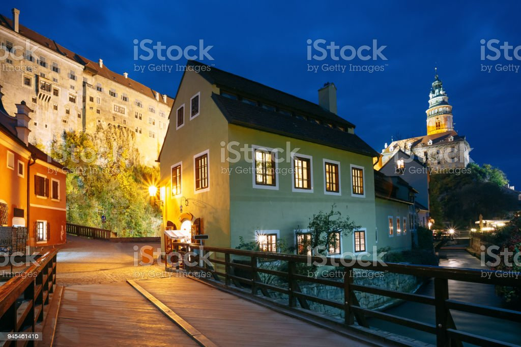 Cesky Krumlov, Czech Republic. Beautiful Night View To Night Street And Tower In Cesky Krumlov, Czech Republic. UNESCO stock photo
