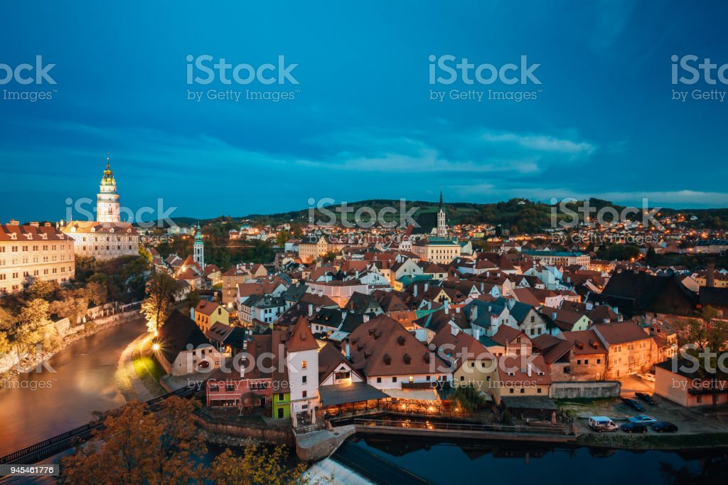 Cesky Krumlov, Czech Republic. Famous Town And Popular Touristic Place. Night Cityscape In Blue Hour. UNESCO World Heritage Site stock photo