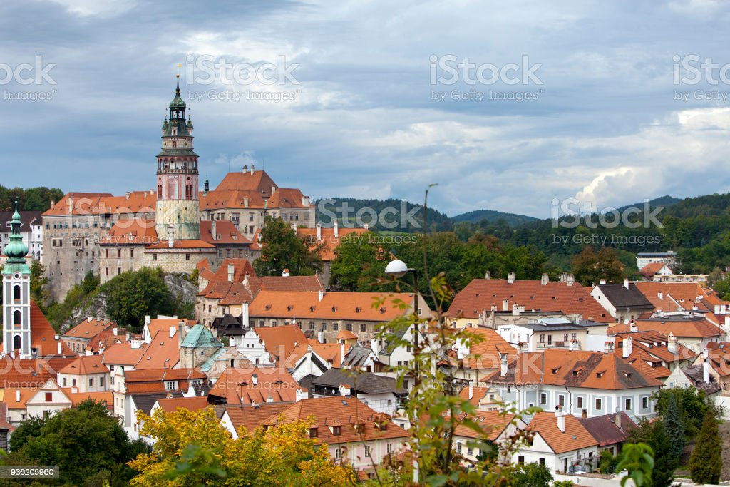 Cesky Krumlov. Czech Republic. Panorama of city stock photo