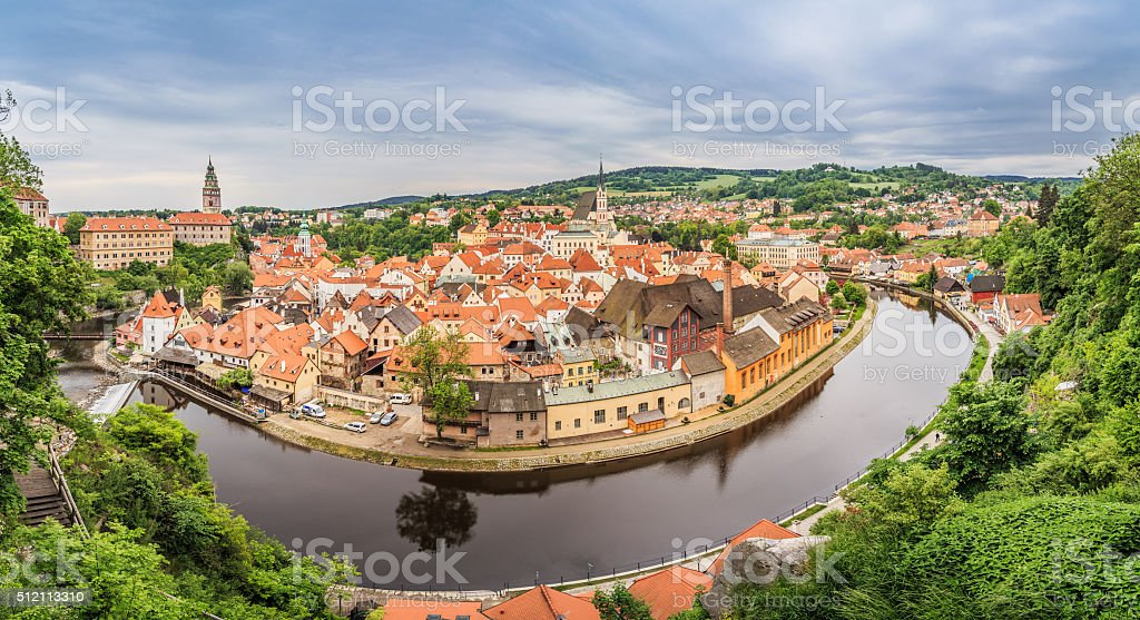 Cesky Krumlov from the top, Cesky Krumlov town stock photo