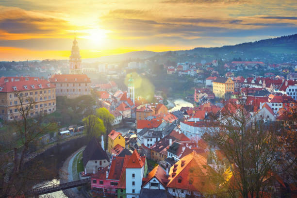 Cesky Krumlov in Czech Republic at sunrise Czech small town in the morning czech culture stock pictures, royalty-free photos & images