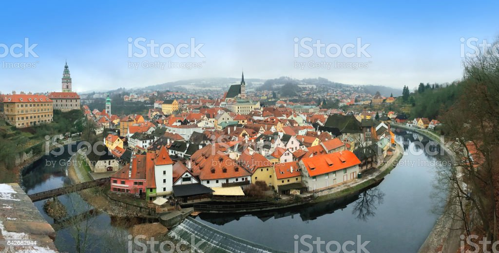 Cesky Krumlov in WInter – Prague, Czech Republic stock photo