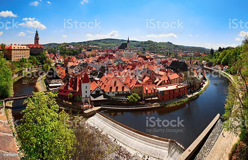 Cesky Krumlov panorama stock photo