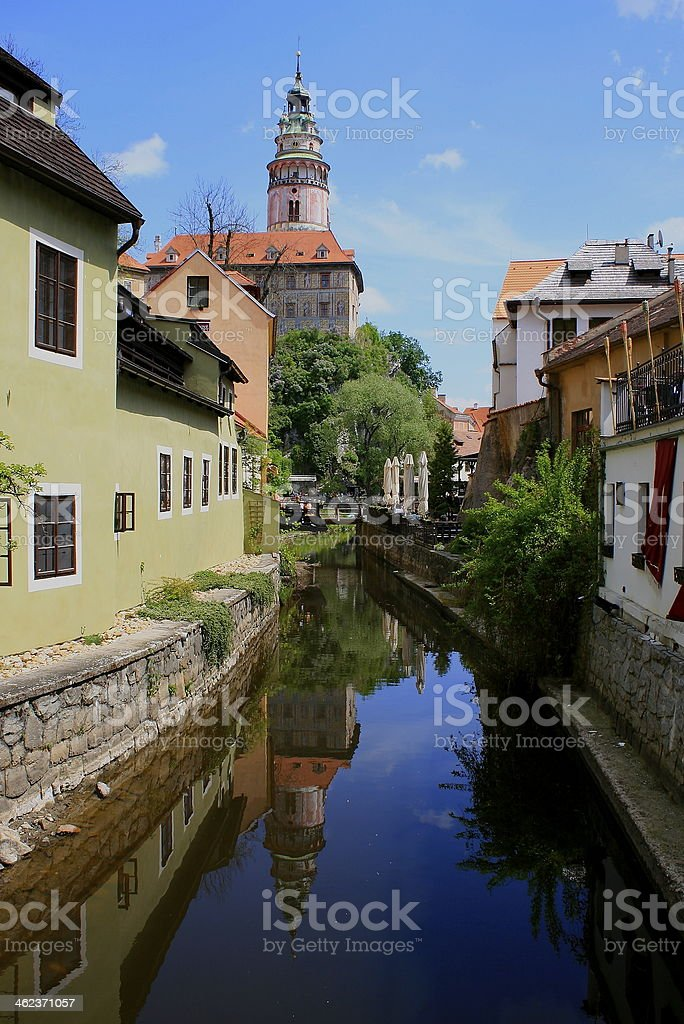 Cesky Krumlov reflection stock photo