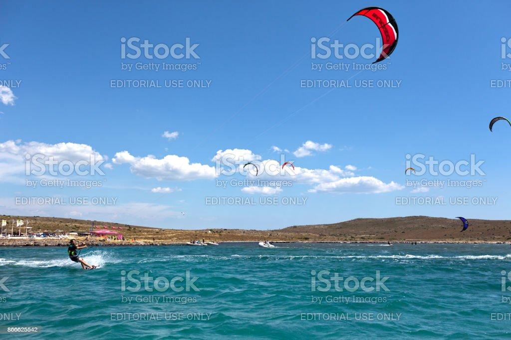 Cesme, Turkey, June 28, 2015: Kitesurfing in Alacati Cesme stock photo