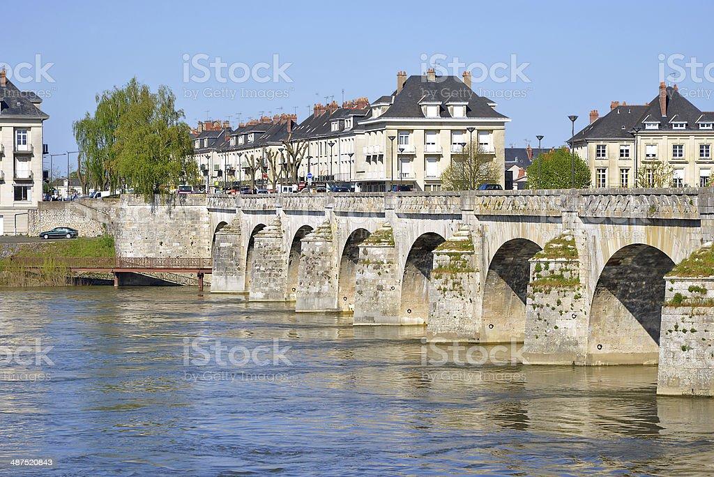 Cessart bridge at Saumur in France stock photo