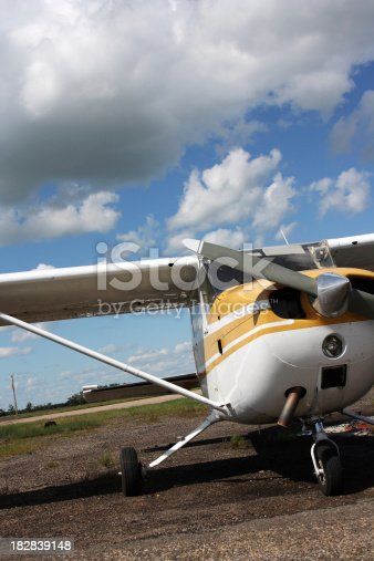 Kiev, Ukraine - November 12, 2010: Cessna 172 Skyhawk parked on the apron of the airport is waiting for the passengers