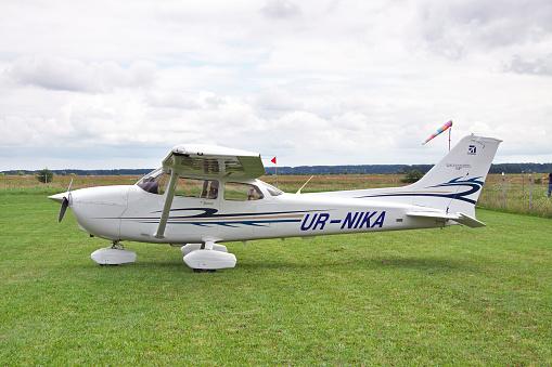 Zhitomir, Ukraine - July 31, 2011: Cessna 172 Skyhawk parked on the grass airfield