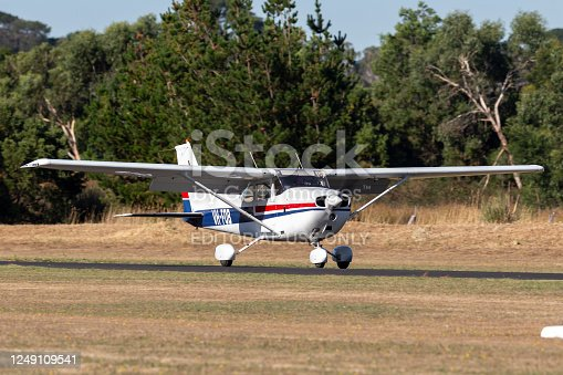 Wheeling, IL, United States - August 24, 2020: Cessna 172P landing at Chicago Executive Airport in Wheeling, Illinois.