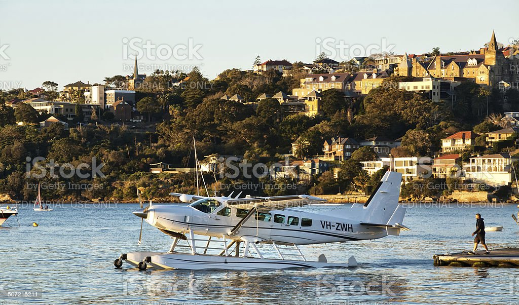 Cessna 208 Seaplane taxis out of Rose Bay, Sydney stock photo