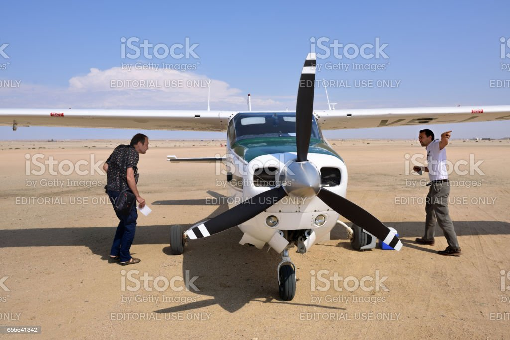 Cessna airplane in Namibia stock photo