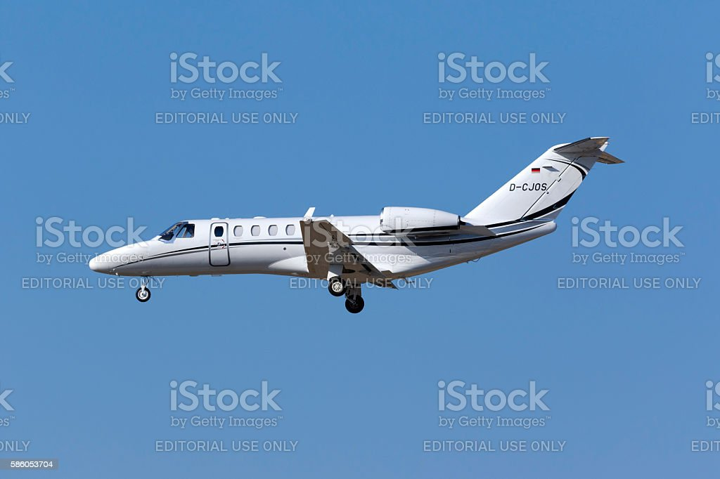 Cessna Business Jet landing. stock photo