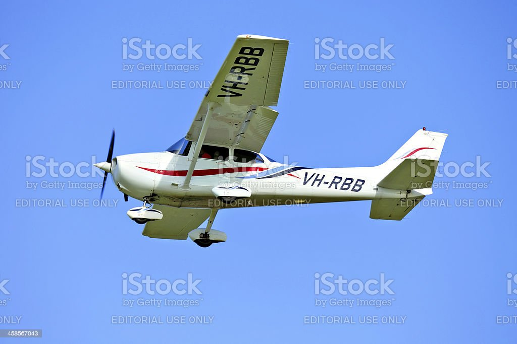 Cessna Light aircraft coming into land after training flight stock photo