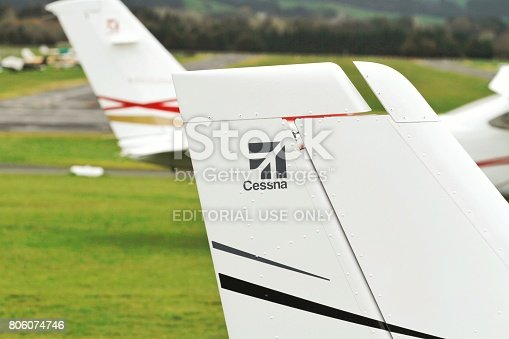 Tyabb, Australia - March 9, 2014: Cessna 172N Skyhawk VH-FOB on the runway at Tyabb Airport.