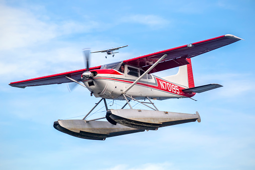 This image is of a Cessna 172 fitted with skies doing a high speed taxi in lake hood sea plane base. Lake Hood Seaplane Base (ICAO: PALH, FAA LID: LHD) is a state-owned seaplane base located three nautical miles (6 km) southwest of the central business district of Anchorage in the U.S. state of Alaska. The Lake Hood Strip (ICAO: PALH, FAA LID: LHD) is a gravel runway located adjacent to the seaplane base. The gravel strip airport's previous code of (FAA LID: Z41) has been decommissioned and combined with (ICAO: PALH, FAA LID: LHD) as another landing surface.