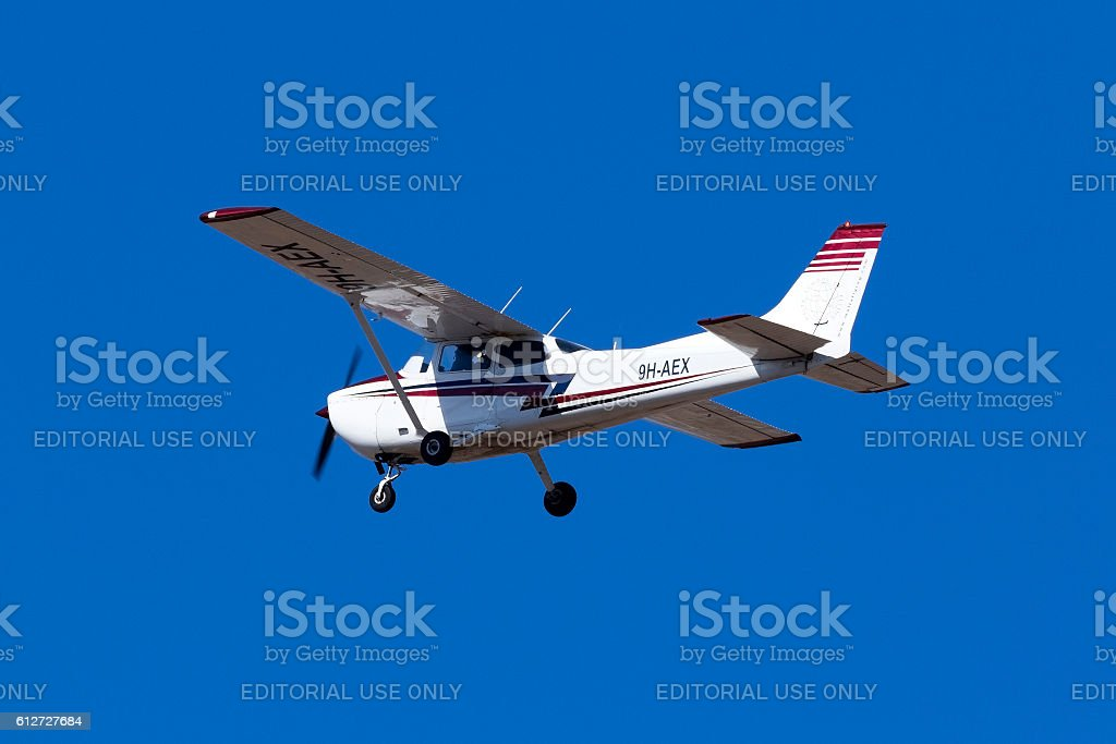 Cessna Skyhawk variant on training flight stock photo