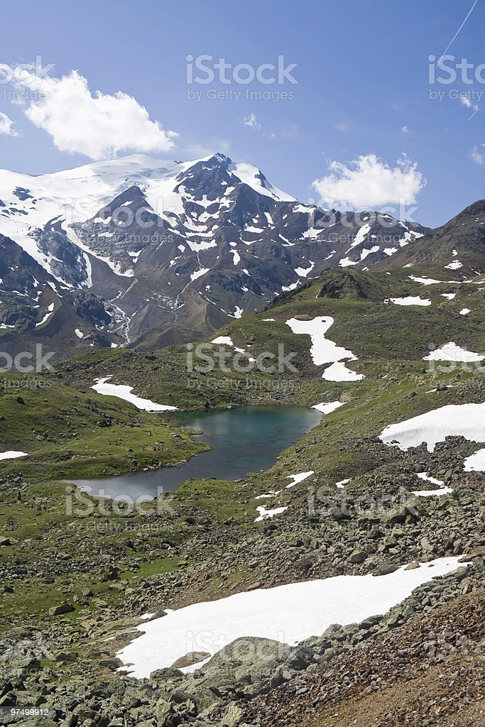 Cevedale mount and small lake royalty-free stock photo