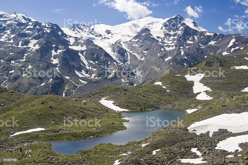 Cevedale mount with small lake royalty-free stock photo