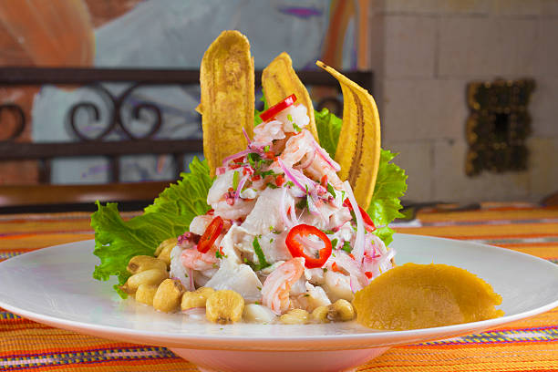 Ceviche Peruvian Ceviche with banana snacks peruvian culture stock pictures, royalty-free photos & images
