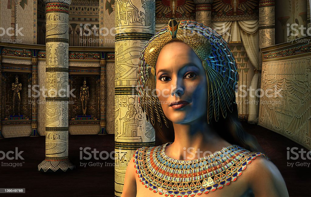 3D cgi graphics model of Egyptian princess and columns stock photo