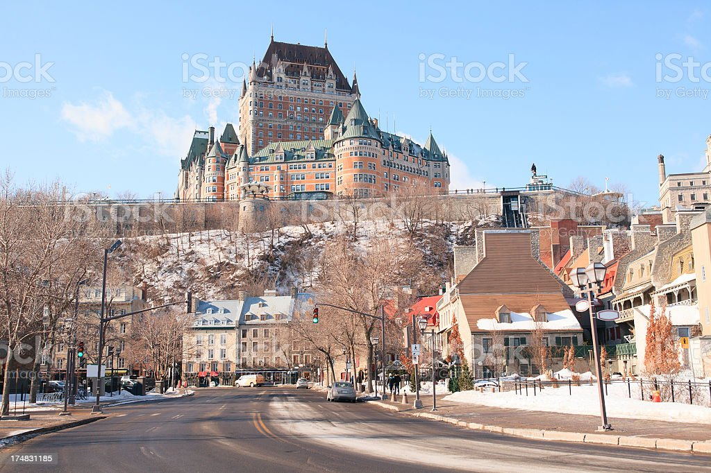Château Frontenac with Road on bottom royalty-free stock photo