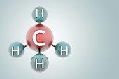 ch4 - molecule methane. Render of 3d model with copy space.
