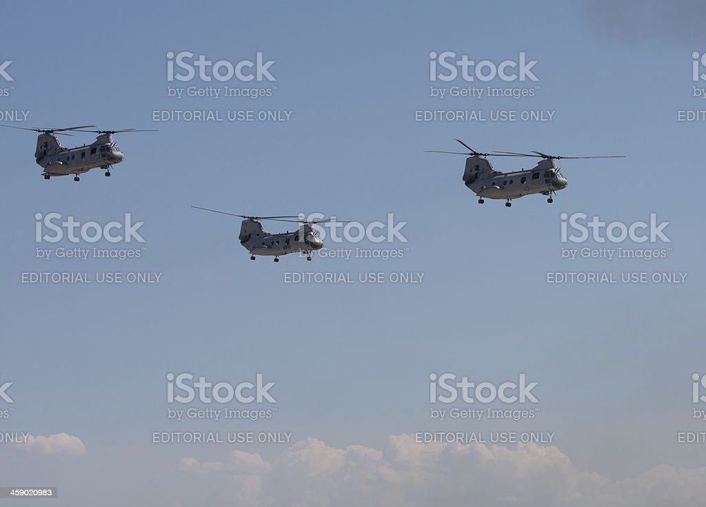 Ch-46 Sea Knights In Flight royalty-free stock photo