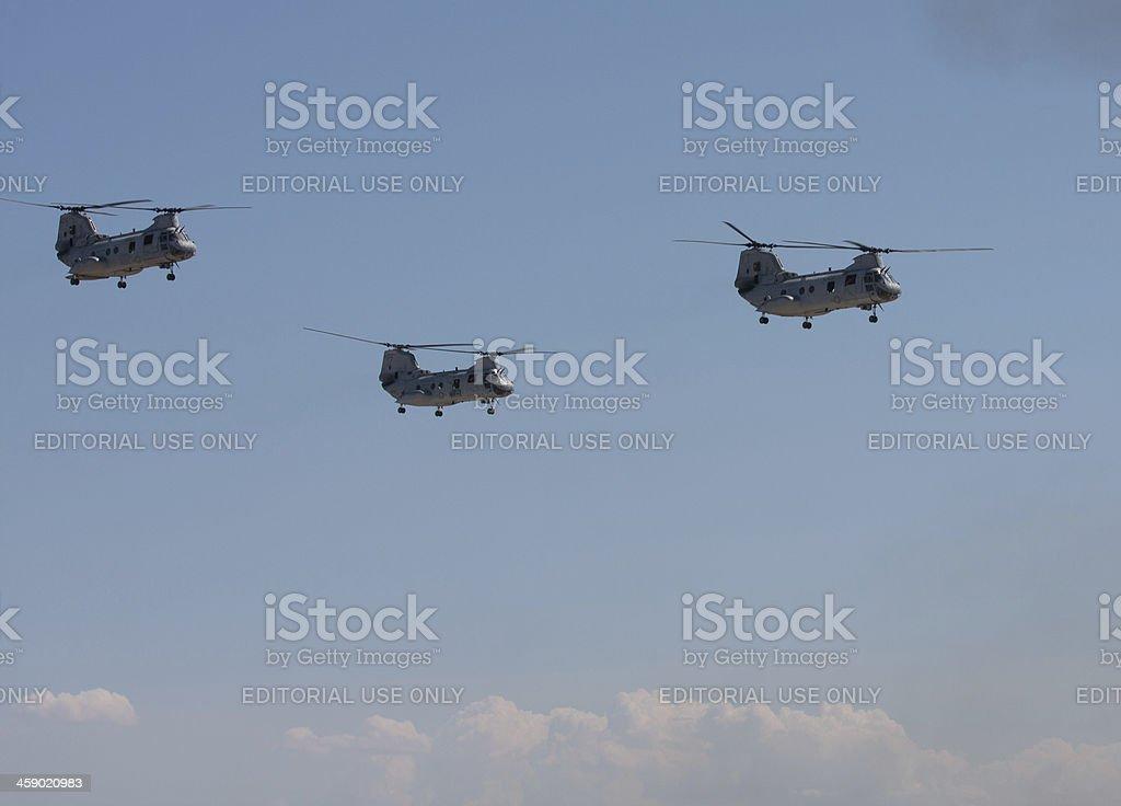 Ch-46 Sea Knights In Flight stock photo