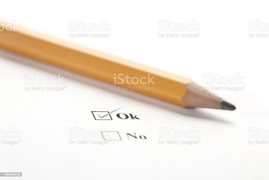 Chack box and pencil royalty-free stock photo