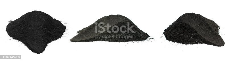 ChaCoal powder isolated on white background
