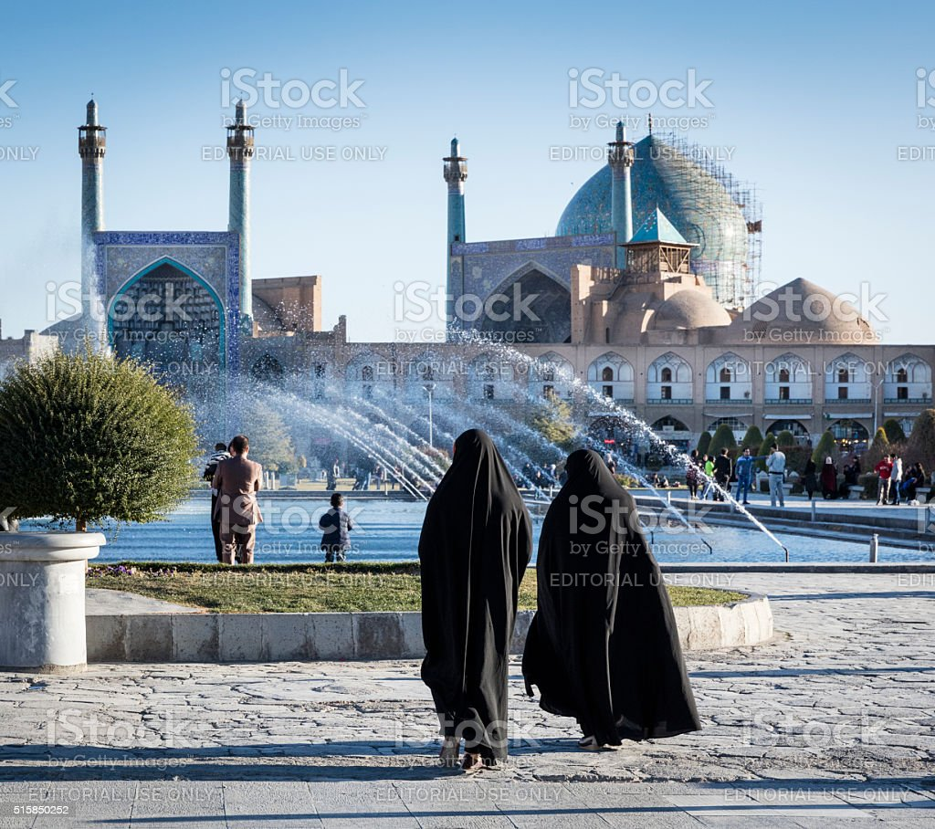 Chador clad women, Maydan-e Emam, Isfahan, Iran stock photo