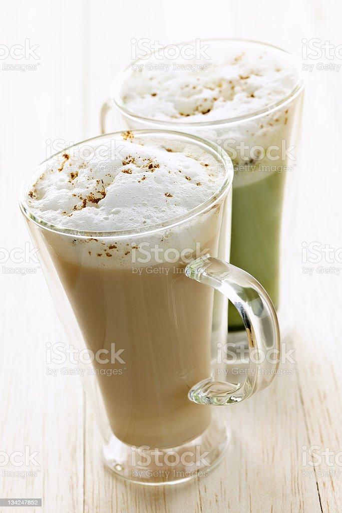Chai and matcha latte drinks royalty-free stock photo