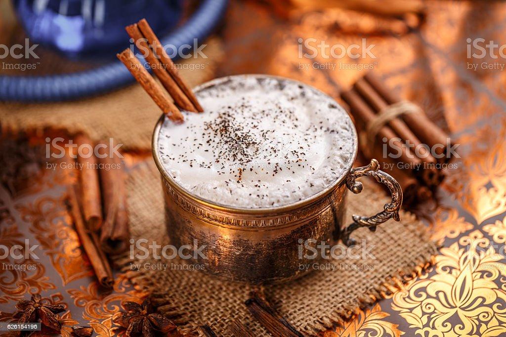 Chai latte spiced black tea stock photo