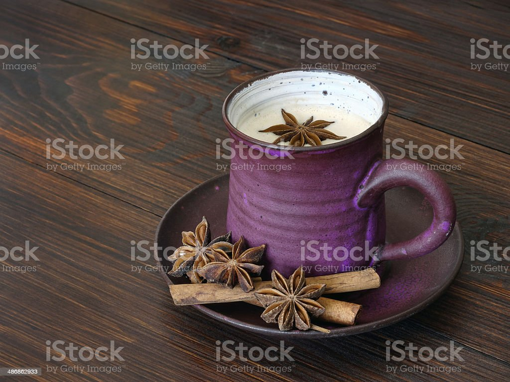 Chai tea with milk stock photo