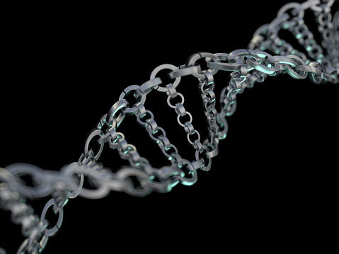 Dna Chain Abstract Scientific Background 3d Rendering Stock Photo - Download Image Now