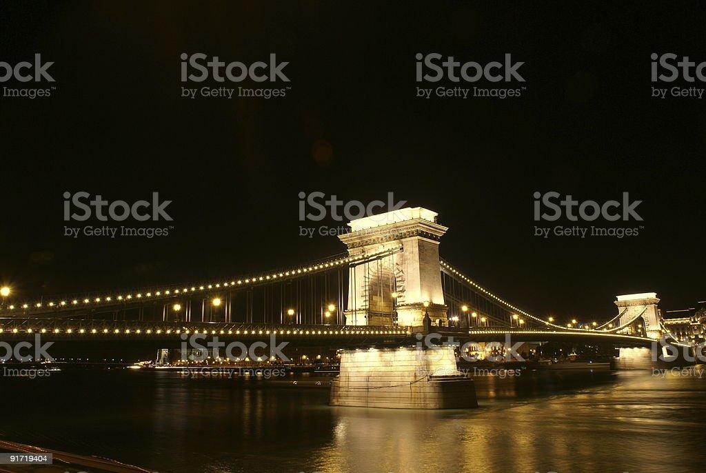 Chain Bridge across the Danube in Budapest royalty-free stock photo