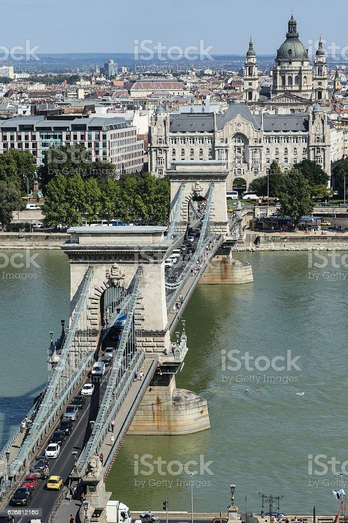 Chain bridge across the Danube river in Budapest stock photo