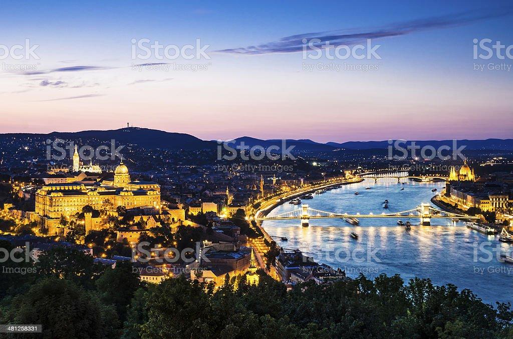 Chain Bridge and Buda Castle, Budapest royalty-free stock photo
