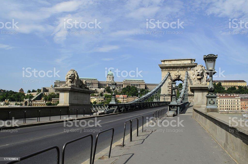 Chain Bridge and Budapest Palace royalty-free stock photo