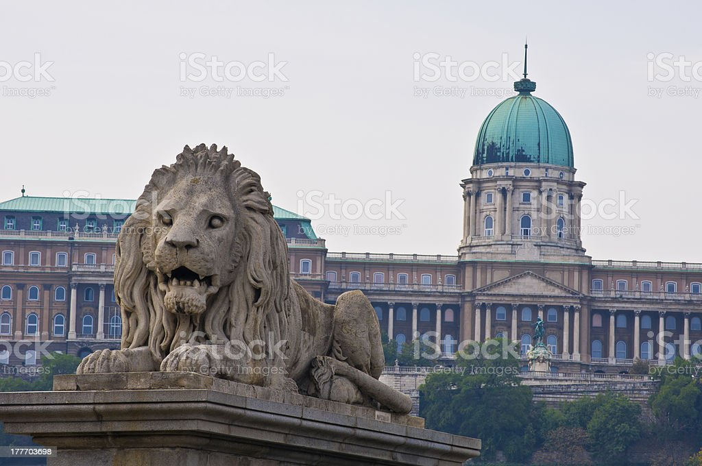 Chain bridge and Castle royalty-free stock photo