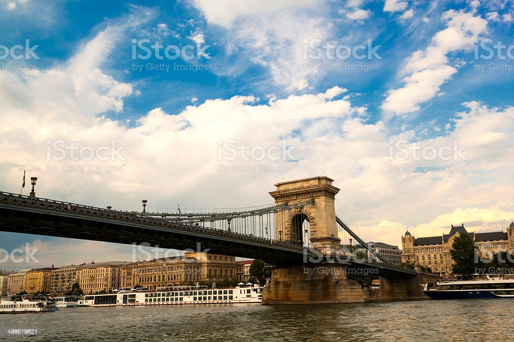 Chain bridge and historical buildings royalty-free stock photo