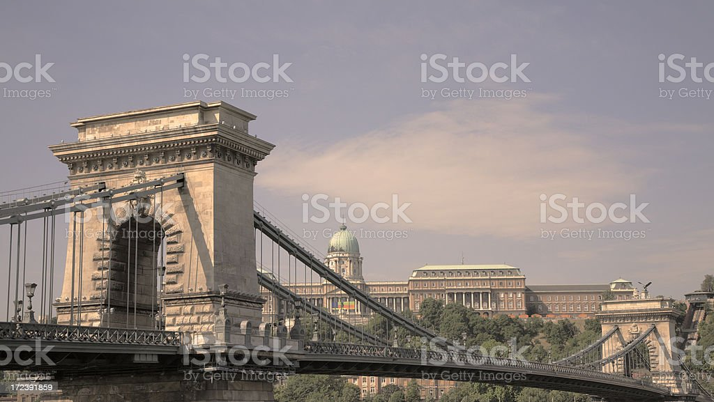 Chain Bridge and Palace in Budapest. royalty-free stock photo