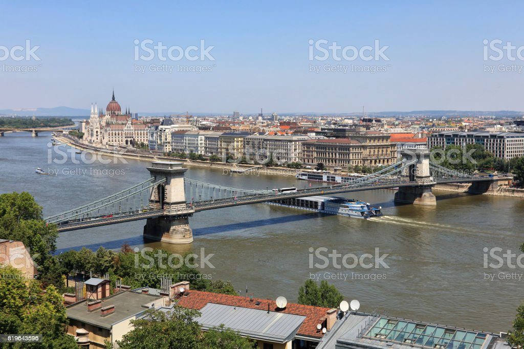 Chain Bridge and Parliament in Budapest stock photo
