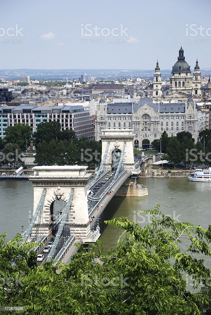 Chain Bridge and the Basilica at Budapest city royalty-free stock photo