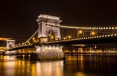 Chain bridge at night, long exposure - Budapest