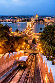 Buda Castle Funicular in front of Chain Bridge at Dusk in Budapest. Hungary