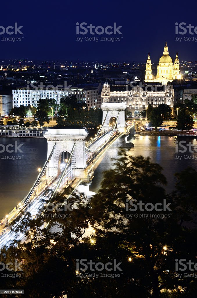 Chain Bridge, Budapest stock photo