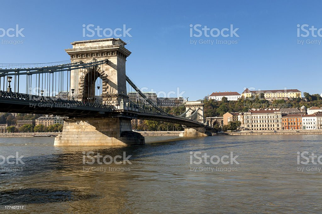 Chain Bridge, Budapest with Buda Castle in the background royalty-free stock photo