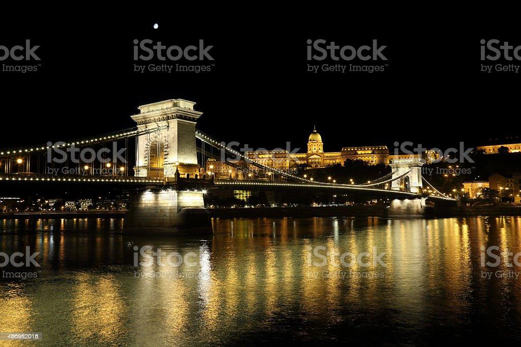 Chain Bridge by night stock photo