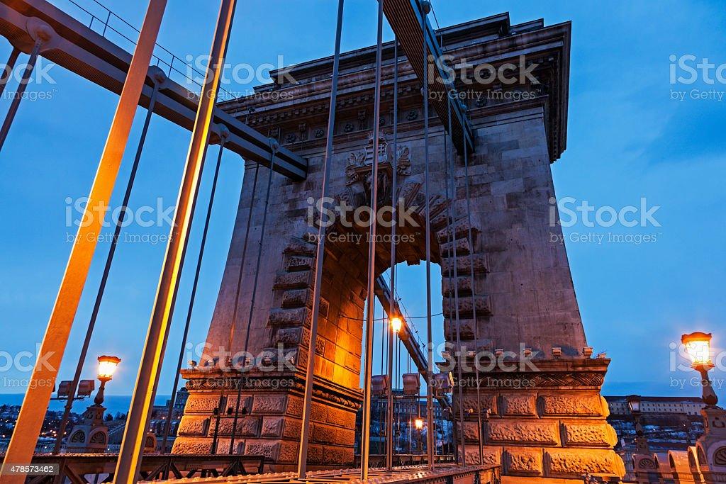 Chain bridge during the sunrise stock photo